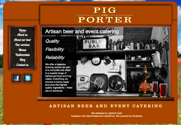 Pig and Porter website screenshot